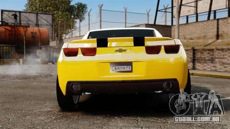 Chevrolet Camaro Bumblebee para GTA 4 traseira esquerda vista