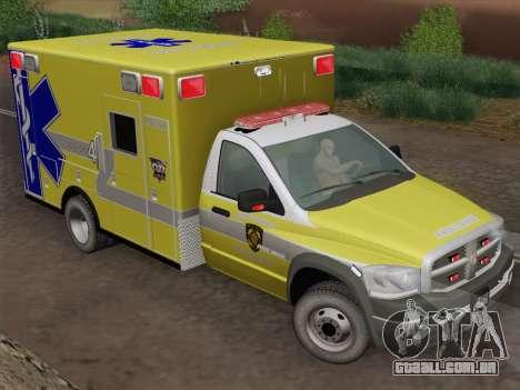 Dodge Ram Ambulance BCFD Paramedic 100 para GTA San Andreas vista traseira