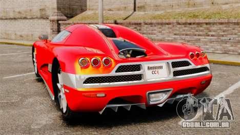 Koenigsegg CCX para GTA 4 traseira esquerda vista