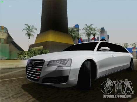 Audi A8 Limousine para GTA San Andreas traseira esquerda vista