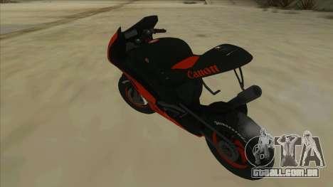 RP Motorsport Yamaha M1 para GTA San Andreas traseira esquerda vista