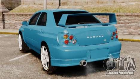 Subaru Impreza para GTA 4 traseira esquerda vista