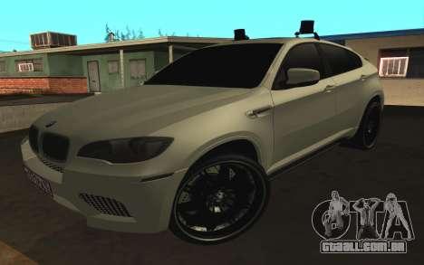 BMW X6 M com piscar luzes PPP para GTA San Andreas esquerda vista