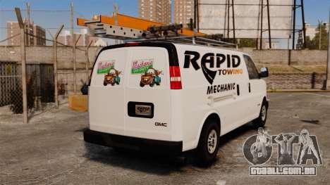 GMC Savana 2500 Rapid Towing Mechanic para GTA 4 traseira esquerda vista
