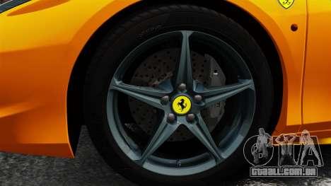 Ferrari 458 Spider 2013 Italian para GTA 4 vista de volta