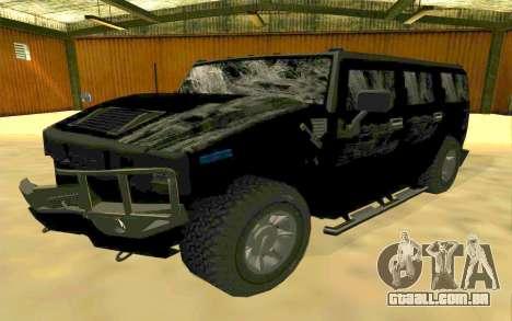 Hummer H2 para GTA San Andreas vista inferior