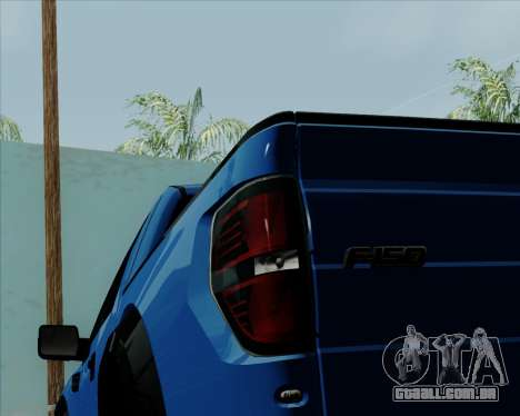 Ford F-150 SVT Raptor 2011 para GTA San Andreas vista interior