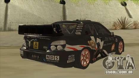 Subaru Impreza WRC Itasha para GTA San Andreas vista direita