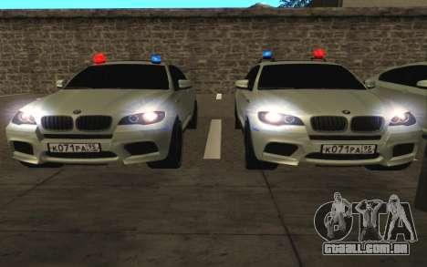 BMW X6 M com piscar luzes PPP para GTA San Andreas vista interior