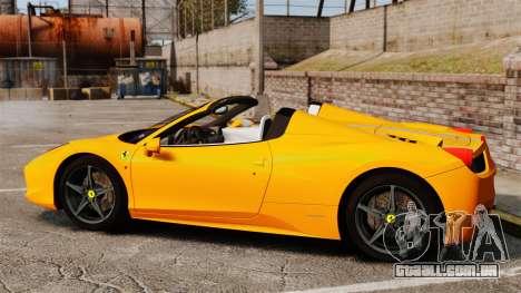 Ferrari 458 Spider 2013 Italian para GTA 4 esquerda vista