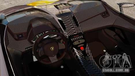 Lamborghini Aventador J Big Lambo para GTA 4 vista interior