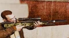 Rifle de sniper L115A1 AW com um silenciador v7 para GTA 4