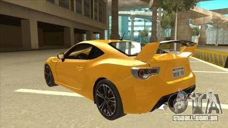 TOYOTA GT86 2JZ-GTE Black Revel para GTA San Andreas vista traseira