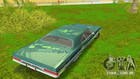 Plymouth Fury III 1969 Coupe para GTA Vice City vista superior