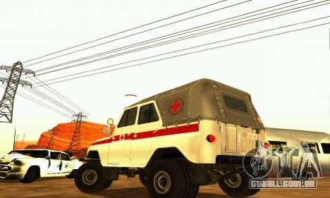 UAZ 469 ambulância para GTA San Andreas traseira esquerda vista