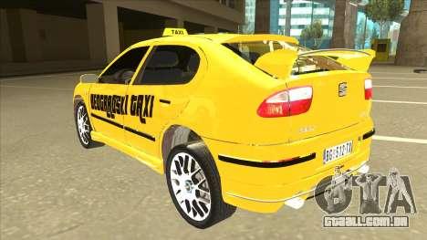 Seat Leon Belgrade Taxi para GTA San Andreas vista traseira