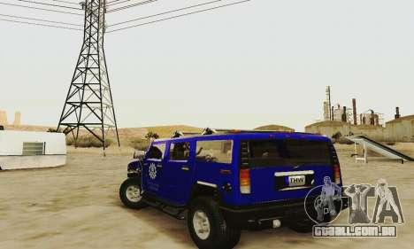 THW Hummer H2 para GTA San Andreas traseira esquerda vista