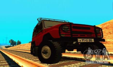 UAZ 31514 6 x 6 para GTA San Andreas vista traseira