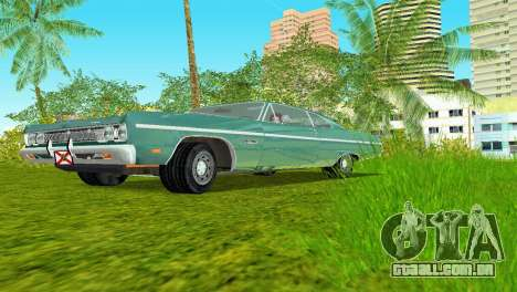 Plymouth Fury III 1969 Coupe para GTA Vice City vista traseira esquerda