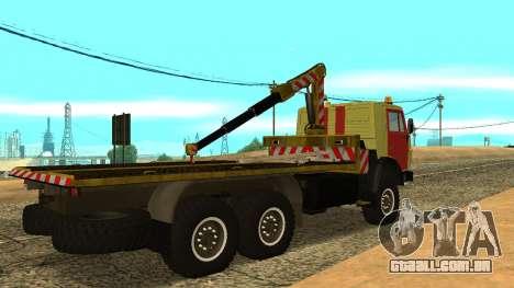 Caminhão de reboque 43114 KAMAZ para GTA San Andreas traseira esquerda vista