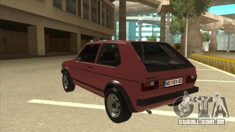 Volkswagen Golf 1 TAS para GTA San Andreas vista traseira