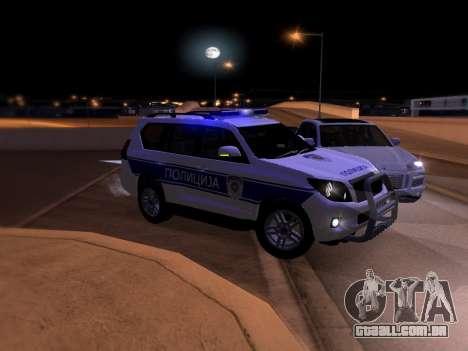Toyota Land Cruiser POLICE para GTA San Andreas vista inferior