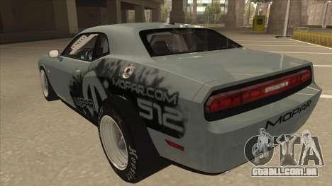 Dodge Challenger Drag Pak para GTA San Andreas vista traseira