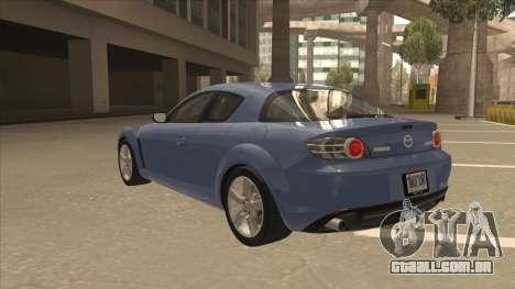 Mazda RX8 Tunable para GTA San Andreas vista traseira