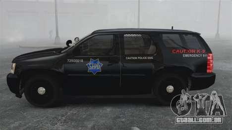 Chevrolet Tahoe 2010 PPV SFPD v1.4 [ELS] para GTA 4 esquerda vista