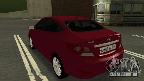 Hyundai Solaris para GTA San Andreas vista traseira