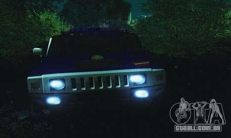 Hummer H2 G.E.O.S. para GTA San Andreas vista traseira