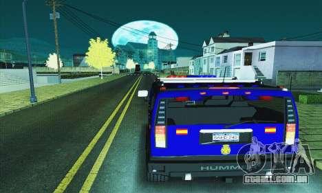 Hummer H2 G.E.O.S. para GTA San Andreas traseira esquerda vista