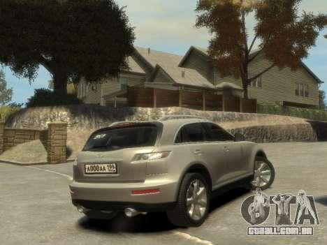 Infiniti FX45 2008 para GTA 4 vista de volta