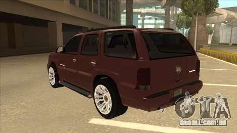 Cadillac Escalade 2002 para GTA San Andreas vista traseira