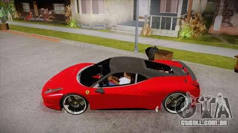 Ferrari 458 Italia Novitec Rosso 2012 v2.0 para GTA San Andreas esquerda vista