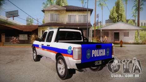 Ford Ranger 2011 Province of Buenos Aires Police para GTA San Andreas traseira esquerda vista