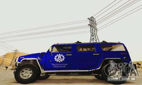 THW Hummer H2 para GTA San Andreas esquerda vista