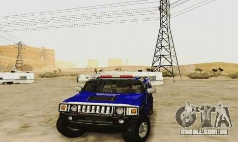 THW Hummer H2 para GTA San Andreas vista interior