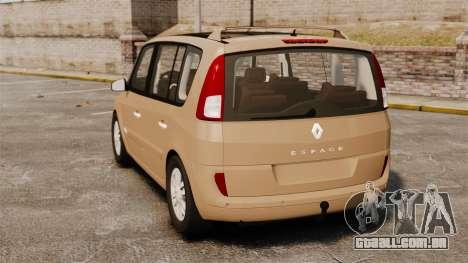 Renault Espace IV Initiale para GTA 4 traseira esquerda vista