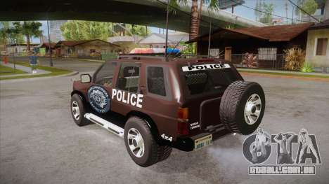 Nissan Terrano RB26DETT Police para GTA San Andreas traseira esquerda vista