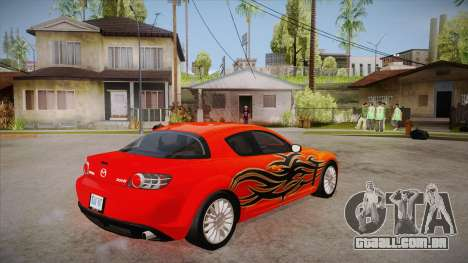 Mazda RX8 Tunnable para GTA San Andreas vista direita