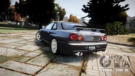 Nissan Skyline GTR-34 v1.0 para GTA 4 vista de volta