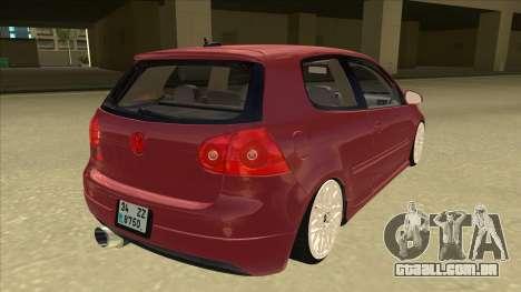 Volkswagen Golf V para GTA San Andreas vista direita