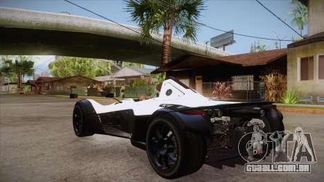 BAC Mono 2011 para GTA San Andreas traseira esquerda vista