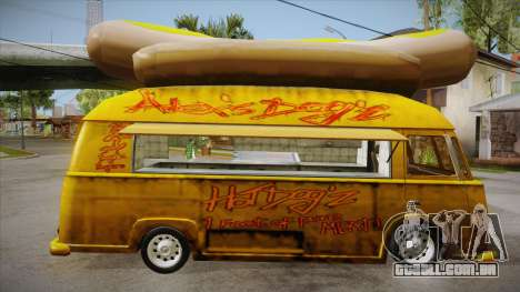Hot Dog Van Custom para GTA San Andreas vista traseira