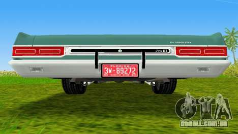Plymouth Fury III 1969 Coupe para GTA Vice City vista lateral