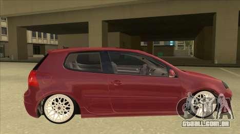 Volkswagen Golf V para GTA San Andreas traseira esquerda vista
