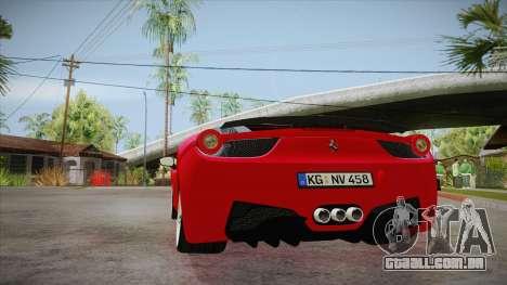 Ferrari 458 Italia Novitec Rosso 2012 v2.0 para GTA San Andreas traseira esquerda vista