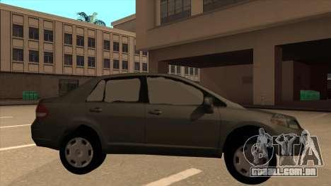 Nissan Tiida sedan para GTA San Andreas traseira esquerda vista