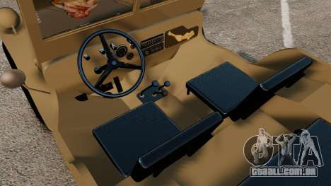 Willys MB para GTA 4 vista interior